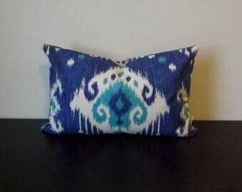 Decorative Throw Pillow, Lumbar Ikat Pillow Cover, Blue Pillow Cover,Bedroom Pillow Cover, Toss Pillow, Accent Pillow, Sofa Pillow Covers