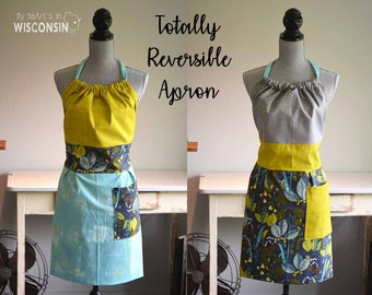 Totally Reversible Apron - Chartreuse, Gray, Gold Blue Leaves - 187