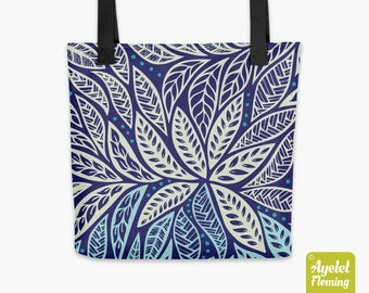Tote Bag 15x15, Tribal Print Tote, Everyday Casual Tote, Tropical Tote Bag, Royal Blue Tote, Nature Market Bag, Funky Tote, All Over Tote