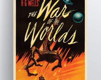 H.G. Wells – War of the Worlds 1953 Movie Poster – 20x30 & 24x36 Poster Paper or Giclée Fine Art Print w/ Free Shipping