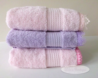 Turkish small bath towel, lace embroidery, 100% turkish cotton victorian wedding gift bridal shower pink lilac purple, hair wrapping towel