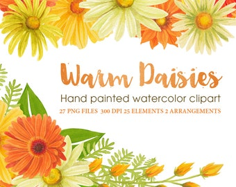 orange and yellow daisy watercolor clipart, floral graphic daisies with wreath and laurel, handpainted watercolor clipart by SLS Lines