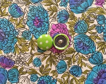 Wholesale Earrings / Fabric Covered Buttons / Polka Dots / Lime Green / Bulk Jewelry / Gifts for Her / Handmade Earrings / Small Studs