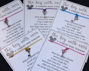 6 Mouse with Ears Key (Minnie) Mouse Inspired Key Wish Bracelets ... Great for Birthdays ... Party Favors and More!