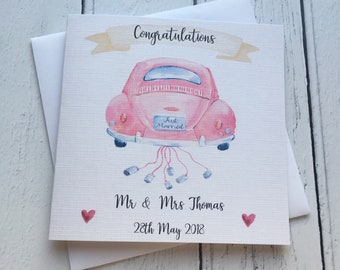 Beautiful Beetle theme Personalised Wedding card ~ And they lived Happily ever after ~ congratulations~ newlyweds ~ mr & mrs ~ wedding day c