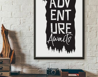 Adventure Awaits, printable quote, wall art, digital prints, typography poster, wall décor