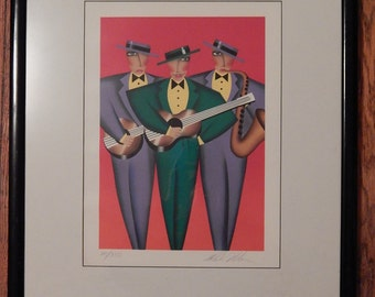 Listed Artist Robin Morris . Signed Limited Edition Litho from Rhythm Blues Series