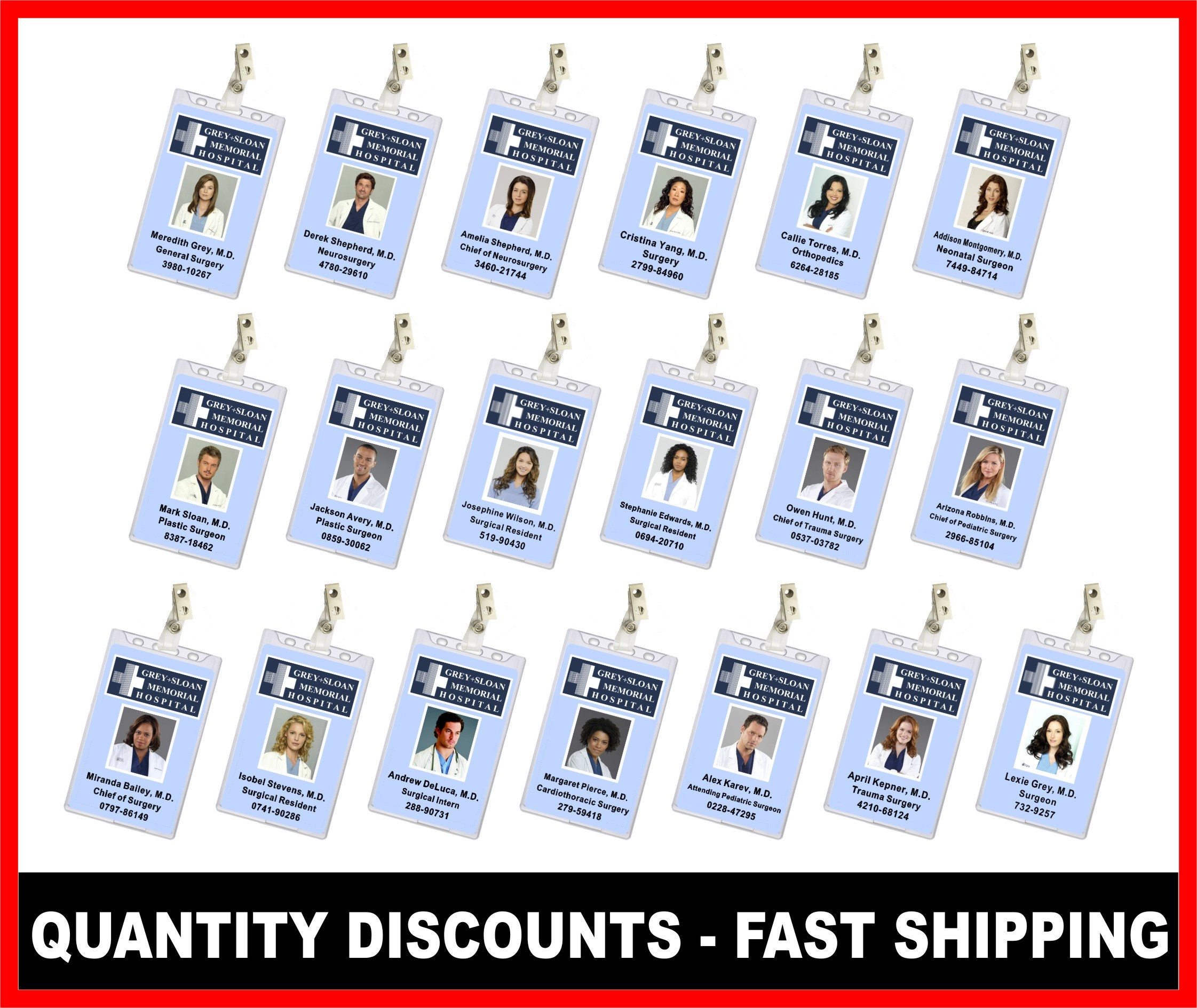 Grey\'s Anatomy ID Card Choose from 19 Styles Quantity
