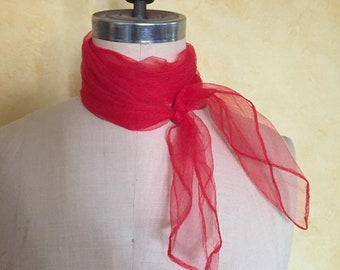 Stylish Sheer Nylon Red Scarf 50s Vintage Neck Kerchief
