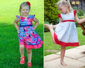 Debut Dress, Sizes 2T - 8,10 & 12 : Girls sewing pattern by Sew Honey Designs