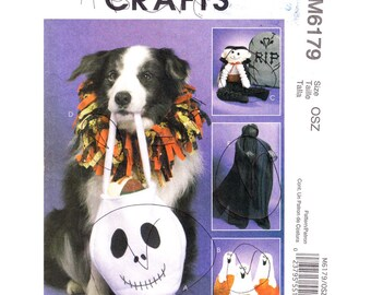 Pet Halloween Pattern McCalls 6179 Treat Bag, Pumpkin, Pet Collar, Vampire Shrouded Greeter Sewing Pattern UNCUT