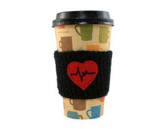 Crochet Cup Cozy, Black and Red, Heart Beat, Valentines Day Gift, Cute Coffee Holder, Crochet Coffee Sleeve, Cup Sleeve, Coffee Lovers Gift
