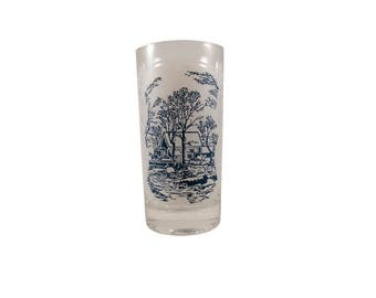 Vintage Blue Currier & Ives White and Blue 12oz Tumbler // Currier and Ives Blue by Royal 12oz Tumbler with White Background // Set of One