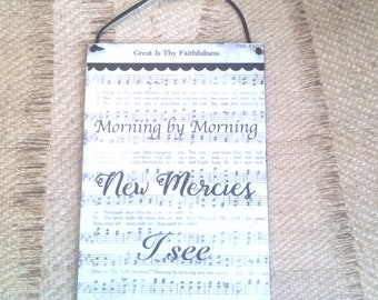 Great Is Thy Faithfulness / Morning By Morning Mixed Media Hymnal Wall Art