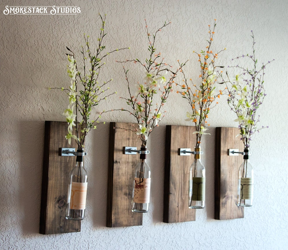 Wine Bottle Wall Vase / Set of Four Rustic Modern