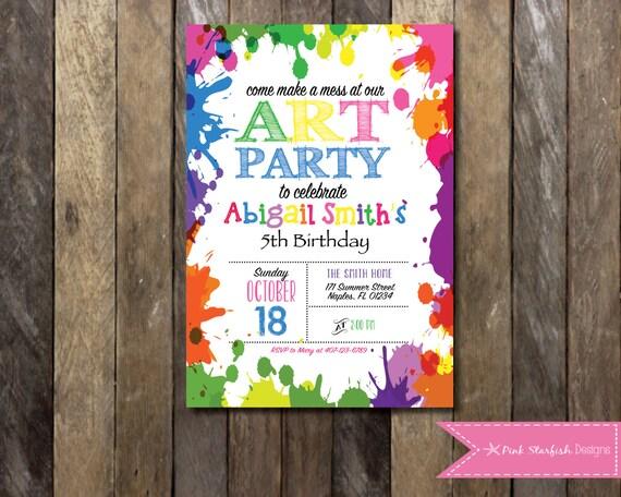 Printable Rainbow Birthday Invitations ~ Art party invitation chalkboard rainbow art party invitation