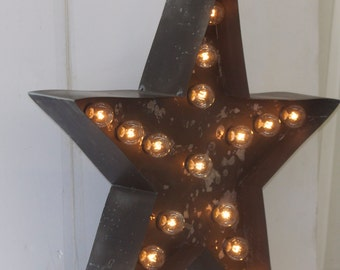 SALE LARGE Old Vintage Style Marquee Star Metal Steel..........Wedding Birthday Home Logo Business Decor