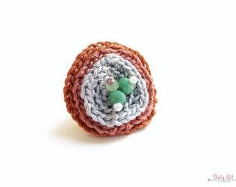 Bohemian style statement ring, crochet flower ring