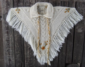 Hand Knit Poncho Blanket Fringe Poncho Women Poncho Kids Toddler Sweater Wool Poncho Cape Wrap Poncho Wrap Knit Poncho Sweater Oversized