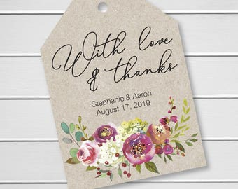 Penelope - With Love and Thanks Wedding Favor Tags, Custom Wedding Tags, Custom Wedding Hang Tags (LLT-379-019-KR)