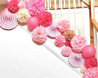 CHERRY BLOSSOM tissue paper pom poms.. nursery decor / party decoration / weddings