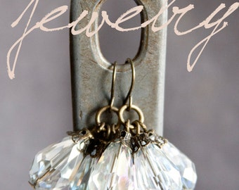 Crystal Antique Earrings, Faceted Teardrop Beads, Brass, Neo Vintage Jewelry