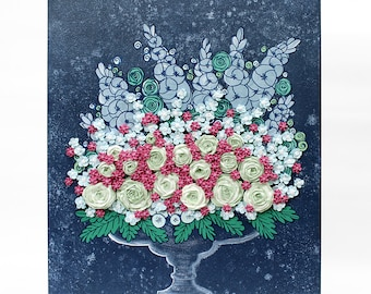 Textured Art Painting of Flower Bouquet, Sculpted Rose Floral Still Life, Acrylic Painting on Canvas in Blue Green Pink - Small 16x20