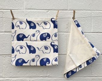 Hand-Printed Blue and White Elephant Pillow Case from Nepal