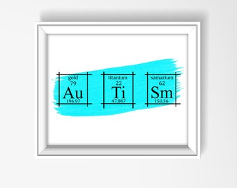 Autism Wall Art Poster, Periodic Table of Elements Art, Scientific Home Decor, Chemistry Wall Art, Autism Gift, Sesame Street, Genius, P3004