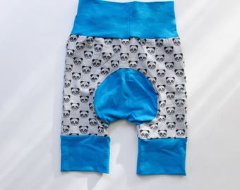 Pandas and Blue Baby Big Butt Shorts - Grow with me shorts - Cloth diaper friendly - Toddler - Gift