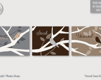 Birds on Tree Branch Bathroom Art Prints Modern Decor Tryptic Set of (3) 5x7, 8 x10 or 11x14, Neutral Beige, Brown, Gray, Cream,  UNFRAMED