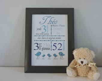 Birthstone personalized bird family poster