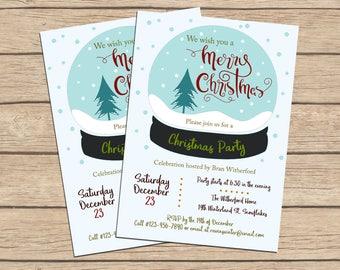 Merry Christmas Invitation, Holiday Invitation, Snow Globe Invitation, Christmas Party Invitation, Invitations Digital Download, Printable