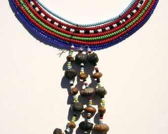 Vintage 1960's African Masai Beaded Necklace, Statement Piece, Statement Jewelry Necklace, African Jewelry, Vintage Beaded Jewelry