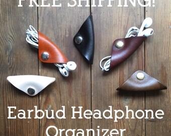 Custom Leather Earbud Earphone Headphone Keeper Organizer Cord Ties, Tie