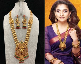 Haram Gold Necklace, Indian Lakshmi Devi Necklace, Indian Bridal Jewelry, Bollywood,Ethnic, Polki, Kemp Temple Jewelry, South Indian Jewelry