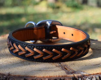 Laced Leather Dog Collar - size M