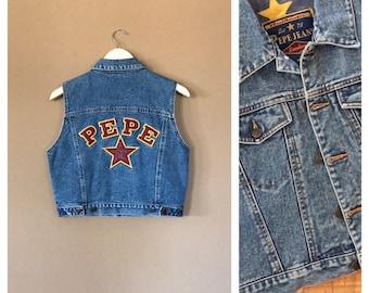 90s Denim Crop Top Vest Shirt / 90s denim shirt / 90s top / 80s Shirt / 90s Shirt / 90s hip hop / 90s clothing / 90s grunge clothing