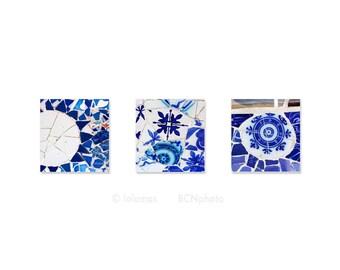 Set of 3 prints, Gaudi mosaic Blue prints Barcelona spanish tiles, Blue Wall Art