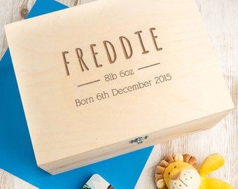 Baby Keepsake Box Baby Boy Gift Personalized Large Wooden Box for new parents