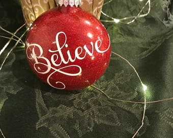 personalized Believe Christmas Ornament