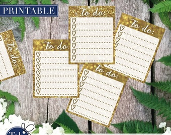 GOLD TO DO heart checklist printable planner stickers. Full boxes with heart checkboxes and gold glitter for Erin Condren planner.