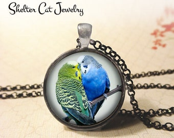 "Kissing Parakeet Necklace - 1-1/4"" Circle Pendant or Key Ring - Handmade Wearable Photo Art Jewelry - Nature, Wildlife, Bird Art Gift"