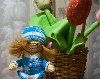 Handmade croched doll, Knitted soft toy, Snow Maiden little doll, Amigurumi