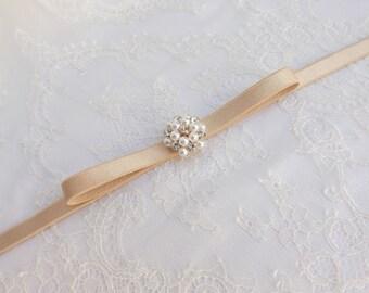Champagne bow belt. Skinny waist belt. Elastic belt. Thin belt. Rhinestone belt. Pearls belt. Bridal belt. Dress belt. Bridesmaids belt.