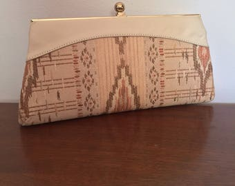 Vintage Beige Clutch // Aztec Inspired Design // Fabric and Leather