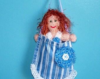 Denim Pocket Pal Redhead Doll