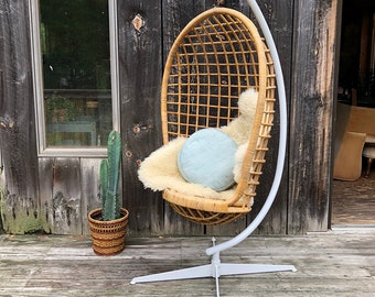 Vintage Rattan Hanging Egg Chair with Stand