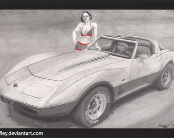 Lina with 1978 Corvette