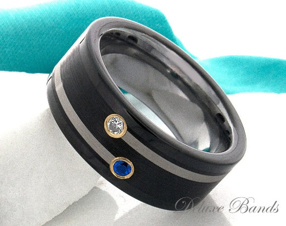Tungsten Ring Sapphire Diamond Tungsten Wedding Band Black